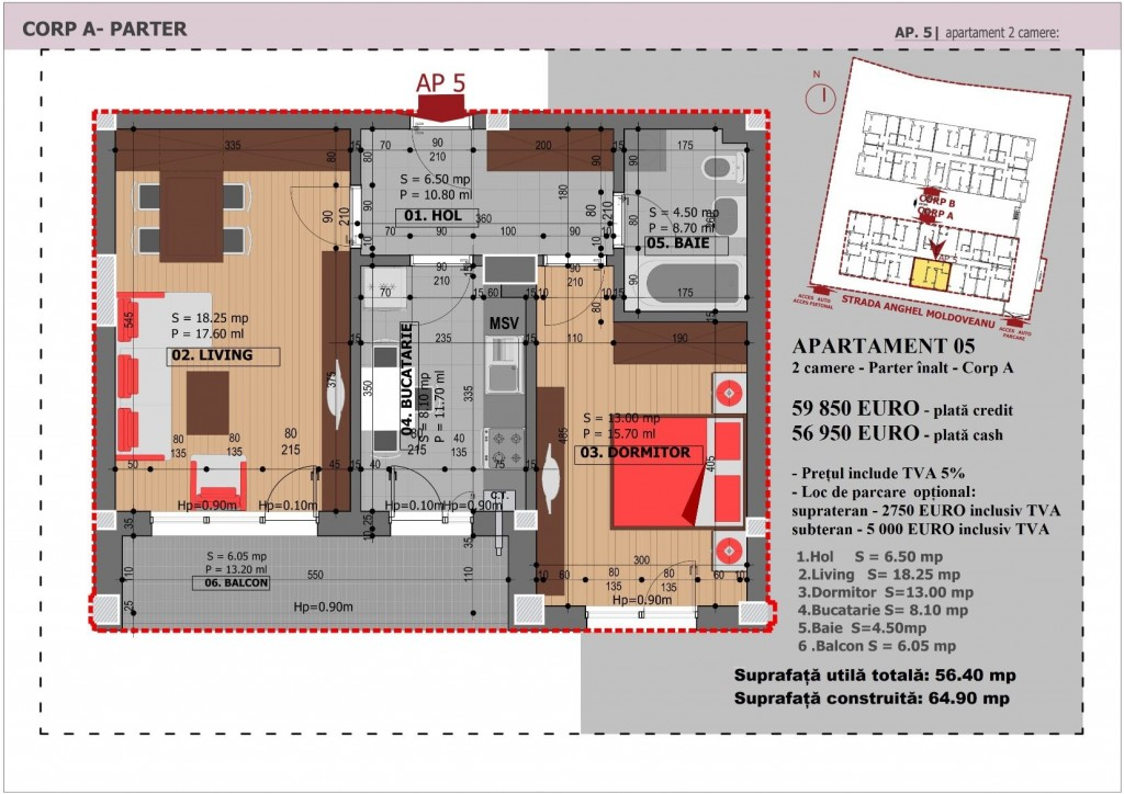 Anghel Moldoveanu 61 - Corp A - Apartament 05
